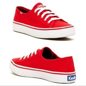 Keds Shoes - Keds Red Double Up Lace Canvas Kickstart Sneaker